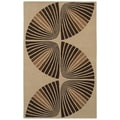 Brown/ Beige Swirl Hand-tufted Wool Rug (5' x 8')