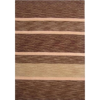 Brown Striped Hand-tufted Wool Rug