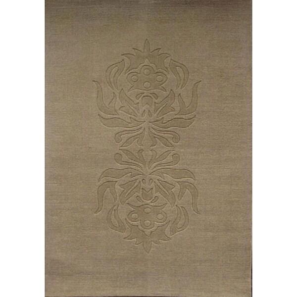 Beige Southwestern Hand-tufted Wool Rug