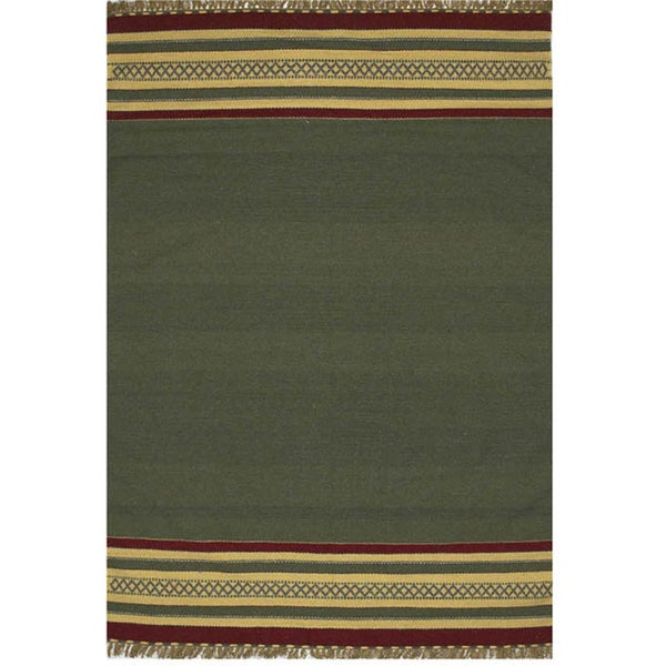 Green Striped Hand Woven Rug