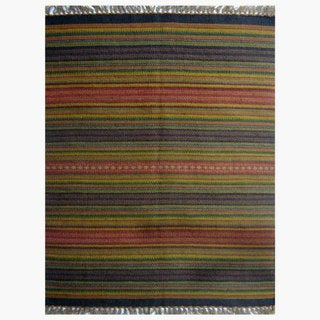 Multicolored Striped Hand Woven Rug