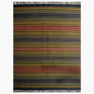 Multicolored Striped Hand Woven Rug