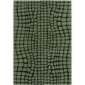 Green Abstract Hand-tufted Wool Rug