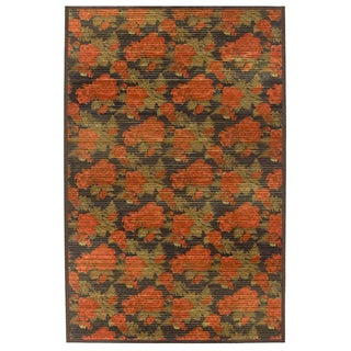 Hand-woven Floral Burgundy/ Green Rug (5' x 8')