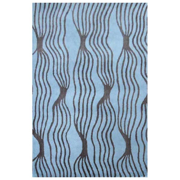 Hand-tufted Aqua Blue Wool Rug