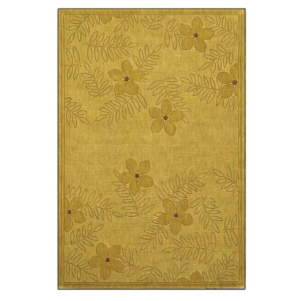 Hand-tufted Gold/ Beige Wool Rug