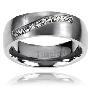 Vance Co. Men's Titanium Cubic Zirconia Band (7mm)