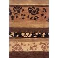 Hand-tufted Floral Brown Wool Rug