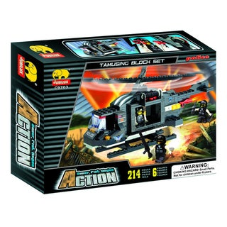 Fun Blocks Police SWAT Helicopter Brick Set (214 pieces)