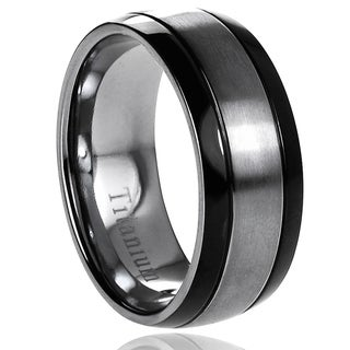 Vance Co. Men's Titanium Brushed Center/ Black Grooved Sides Band (8 mm)