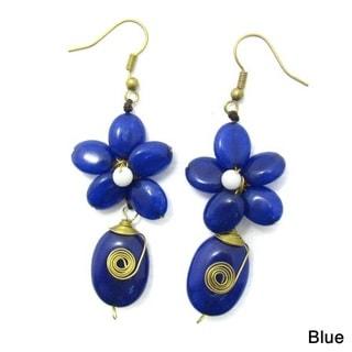 Romantic Blue Quartz Floral Teardrop Brass Earrings (Thailand)