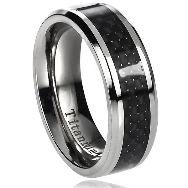 Vance Co. Men's Titanium Black Carbon Inlay Band (7 mm)