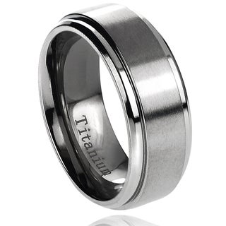 Vance Co. Men's Titanium Brushed Center Polished Edge Band (8 mm)