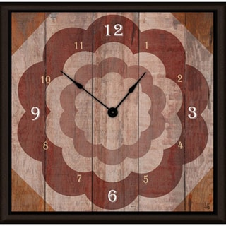 Ankan 'Floral on Wood' Framed Clock Art