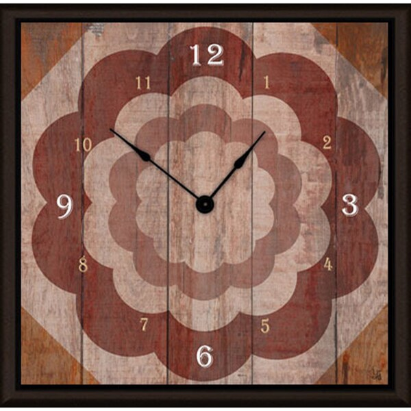 Ankan 'Floral on Wood' Framed Clock Art