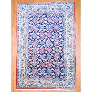 Persian Hand-knotted Isfahan Navy/ Ivory Wool Rug (8' x 11'9)