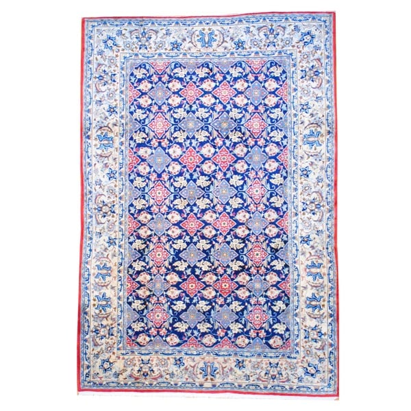 Herat Oriental Persian Hand-knotted Isfahan Navy/ Ivory Wool Rug (8' x 11'9)