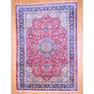 Persian Hand-knotted Isfahan Red/ Navy Wool Rug (8'4 x 12'2)