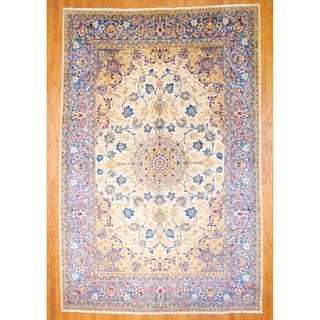 Persian Hand-knotted Isfahan Ivory/ Light Blue Wool Rug (8'5 x 12'9)