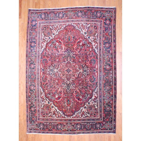 Persian Hand-knotted 1960's Heriz Rust/ Brown Wool Rug (8'2 x 11'5)