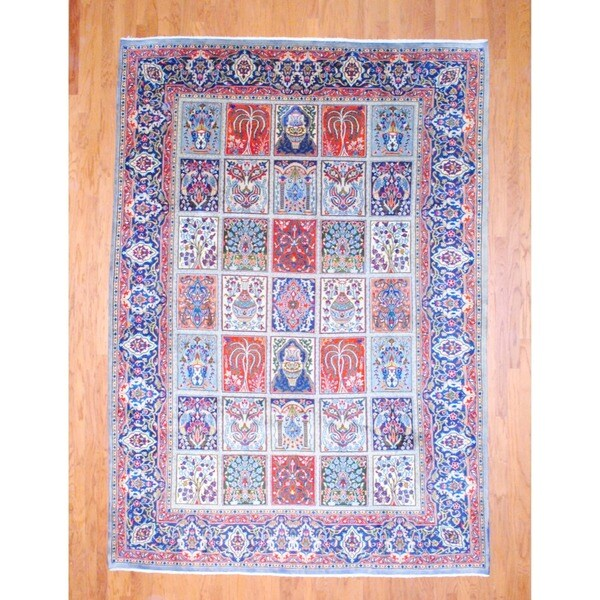 Persian Hand-knotted Mashad Red/ Navy Wool Rug (8'1 x 11'3)