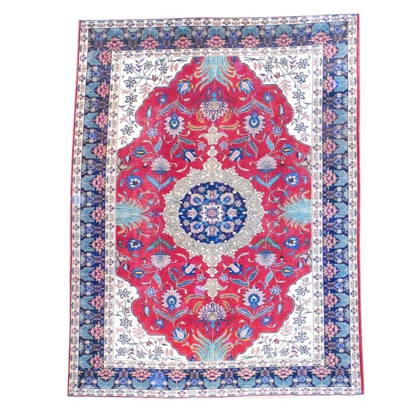 Herat Oriental Persian Hand-knotted Heriz Red/ Navy Wool Rug (8'7 x 11'2)