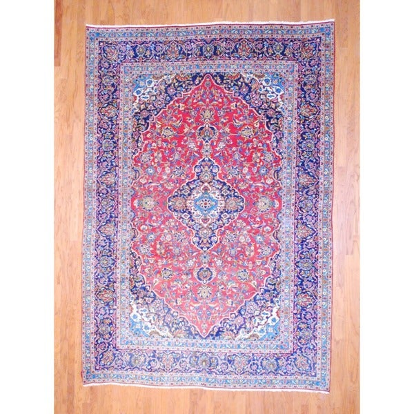 Persian Hand-knotted Kashan Red/ Navy Wool Rug (8' x 11'7)
