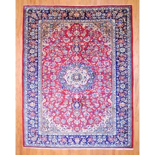 Persian Hand-knotted Isfahan Red/ Navy Wool Rug (9' x 11'6)