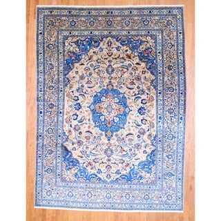 Persian Hand-knotted Mashad Beige/ Blue Wool Rug (8'2 x 11')