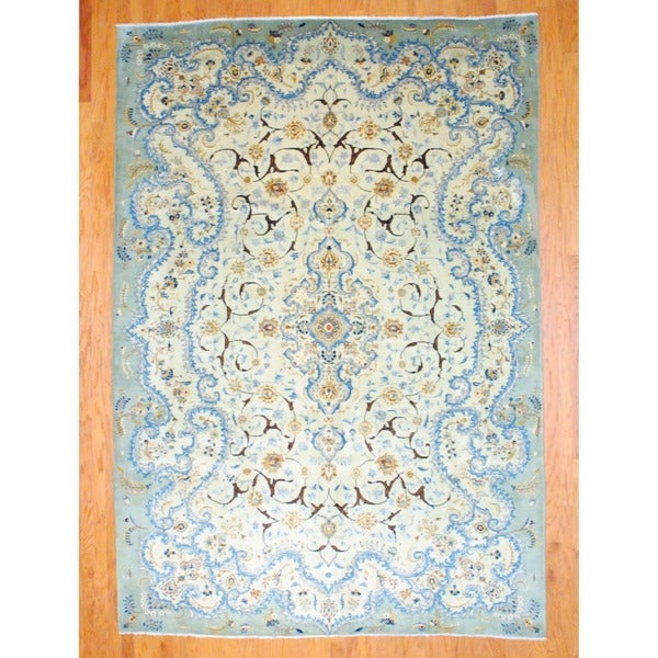 Persian Hand Knotted Kashan Silk And Wool Area Rug Ebth: Herat Oriental Persian Hand-knotted Kashan Light Green