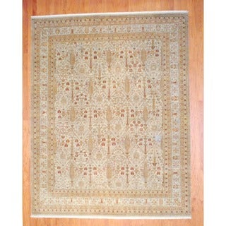 Indo Hand-knotted Vegetable Dye Beige/ Gold Wool Rug (8'10 x 11'3)