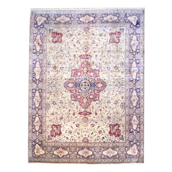 Indo Hand-knotted Tabriz Ivory/ Navy Wool Rug (8'2 x 11')