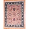 Indo Hand-knotted Mahal Peach/ Black Wool Rug (9' x 11'10)