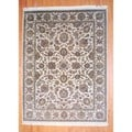 Indo Traditional Hand-Knotted Mahal Ivory/Gold Wool Rug (9' x 12')