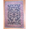Indo Hand-knotted Mahal Black/ Rose Wool Rug (8'7 x 12'1)