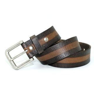 Toneka Men's Embossed Two Tone Faux-leather Dress Belt