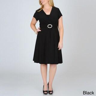 R & M Richards Women's Plus Ring-embellished Dress