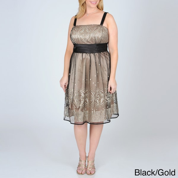 R & M Richards Women's Plus Mesh Overlay Party Dress