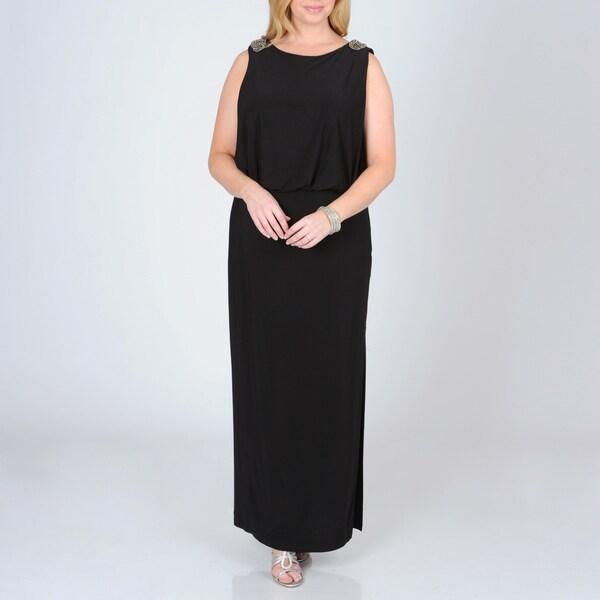 R & M Richards Women's Plus Blouson Top Evening Dress