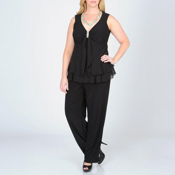 R & M Richards Women's Plus 2-piece Pant Suit