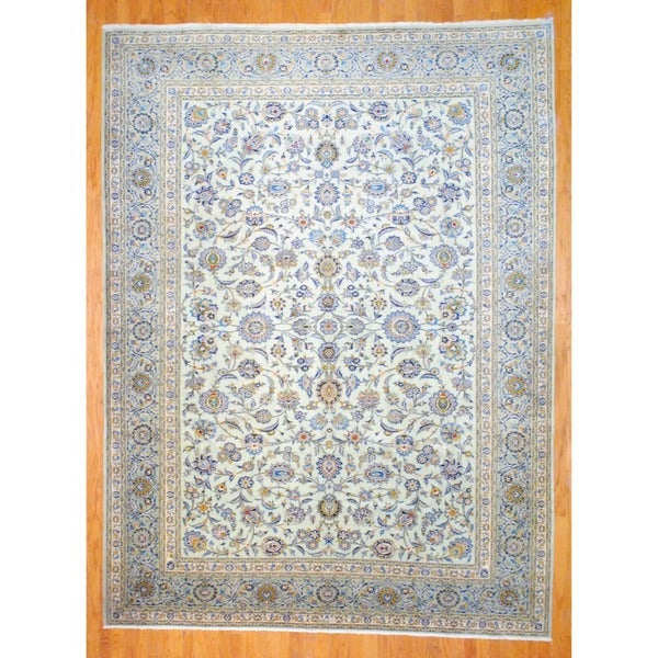 Persian Hand-knotted Kashan Light Green/ Green Wool Rug (9'3 x 12'5)