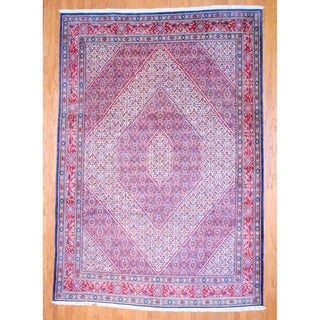 Persian Hand-knotted Moud Navy/ Red Wool Rug (8'6 x 12'2)