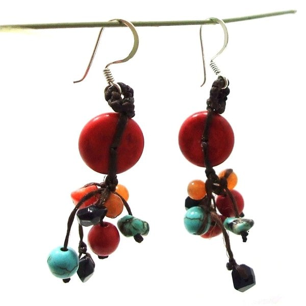 Red Turquoise Donut Multi Stone Showers Earrings (Thailand)