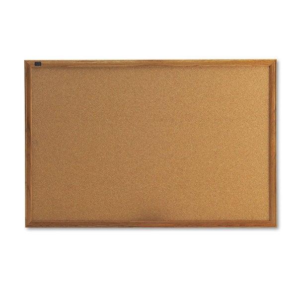 Quartet Oak Frame Cork Bulletin Board