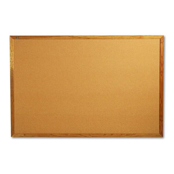 Quartet Oak Frame Bulletin Board with Brackets