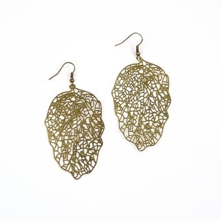 Pretty Little Style Bronze Plated Filigree Leaf Earrings