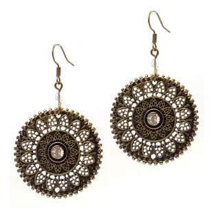 Pretty Little Style Bronze Plated Crystal Flower Earrings