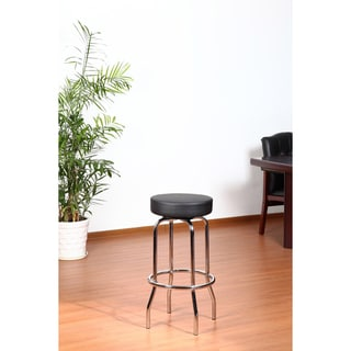 Aragon 29-inch Black and Chrome Stool