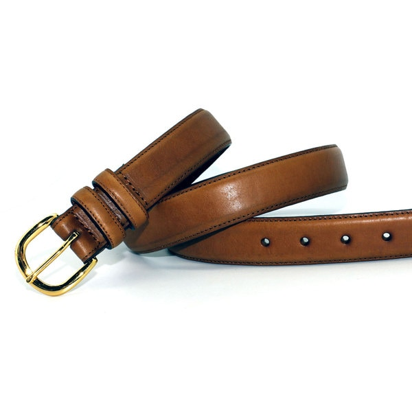 Toneka Men's Tan Faux-leather Belt