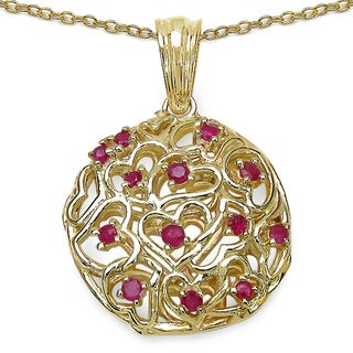 Malaika Gold over Silver 3/5ct TGW Ruby Heart Cluster Necklace